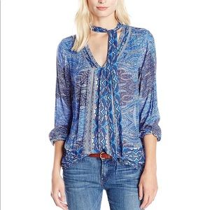 Lucky Brand Cut Out Long-Sleeve Peasant Blouse